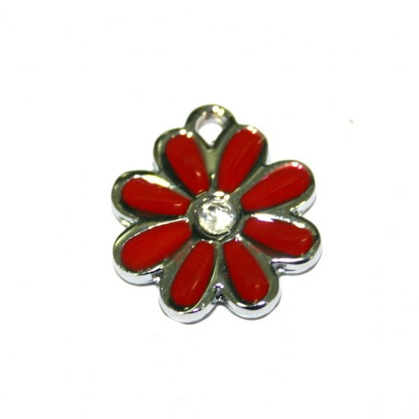 1x 17*17mm rhodium plated red daisy with rhinestone enamel charm - SD03 - CHE1252